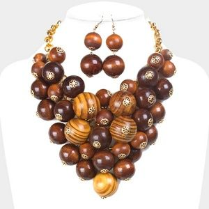 Chunky Wooden Ball Bead Statement Necklace Set